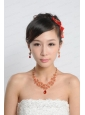 Red Alloy and Imitation Jewelry Set Including Necklace And Earrings