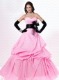 Cheap Bowknot and Ruching Taffeta Sweet 16 Dress in Pink
