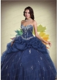 Navy Blue Sweetheart Beaded Decorate Quinceanera Dress with Pick Ups