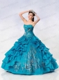 Strapless Ball Gown Taffeta Embroidery Quinceanera Dress in Turquoise