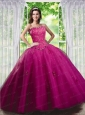 2015 Beautiful Beading and Appliques Dress in Fuchsia for Quinceanera