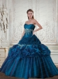 2015 Elegant Strapless Teal Quinceanera Dress with Appliques and Pick Ups