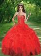 2015 Popular Strapless Red Quinceanera Dresses with Beading and Ruffled Layers