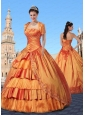 2015 Taffeta Orange Sweet 16 Dress with Ruffled Layers