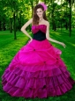 2015 The Super Hot Strapless Hot Pink Quinceanera Gown with Ruches