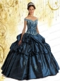 Affordable Off The Shoulder Appliques and Pick-ups Navy Blue Sweet 16 Dresses For 2015