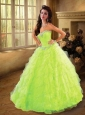 Beautiful Sweetheart Beading and Ruffles Quinceanera Dress in Spring Green For 2015