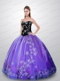 Elegant Purple and Black Quince Dresses with Beading and Appliques