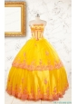 Gold Strapless Beautiful Quinceanera Dresses with Appliques