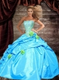 Inexpensive Strapless Beading and Flowers Aqua Blue Quincenera Dresses