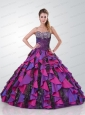 Modest Sweetheart Multi-color Sweet 15 Dress with Appliques and Beading