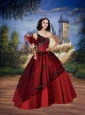 Puffy One Shoulder Wine Red 2014 Quinceanera Gown with Appliques
