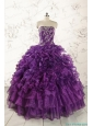 Purple Strapless 2015 Quinceanera Dress with Appliques