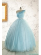 Romantic One Shoulder Light Blue Quinceanera Dress for 2015