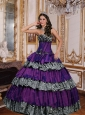 Ruffled Layers Taffeta and Zebra Sweetheart Quinceanera Dress in Purple