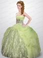 2015 Beautiful Sweetheart Yellow Green Quinceanera Dresses with Sequins