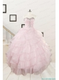 2015 Cute Baby Pink Quinceanera Dresses with Beading and Ruffles