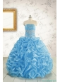 2015 Elegant Strapless Beading Quinceanera Dresses in Baby Blue