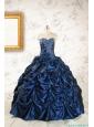 2015 Exclusive Appliques Navy Blue Quinceanera Dresses