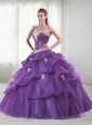 2015  Exclusive Sweetheart Appliques and Pick-ups Purple Quinceanera Dress