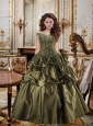 2015 Fashionable Beading and Ruffles Olive Green Dress For Quinceanera