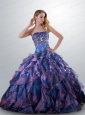 2015 Fashionable Strapless Multi-color Quinceanera Gown with Beading and Ruffles