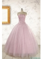 2015 Light Pink Strapless Simple Sweet 16 Dresses with Appliques