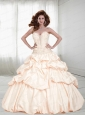 2015 Lovely Sweetheart Ivory Quinceanera Dress with Beading and Pick Ups