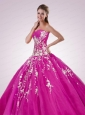 2015 Popular Sweetheart Appliques Quinceanera Dresses in Fuchsia