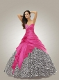 Brand New Sweetheart Hot Pink Quinceanera Dresses with Beading and Hand Made Flowers