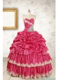 Cheap Appliques Sweet 15 Dresses in Coral Red