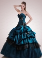 Custom Made Sweetheart Dark Blue Quinceanera Dress with Appliques and Hand Made Flowers