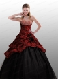 Customize Strapless Black and Red Quinceanera Dresses with Beading