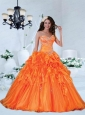 Customize Sweetheart Orange Red Quinceanera Gown with Ruffles and Appliques