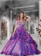 Exclusive Purple Quinceanera Gown with Appliques and Hand Made Flowers