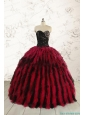 Luxurious Sweetheart Beading Quinceanera Dresses in Red and Black