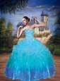 Modest Sweetheart Beading and Ruffles Quinceanera Dress in Blue
