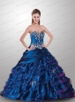 Modest Sweetheart Royal Blue Dress For Quinceanera with Appliques and Ruffles