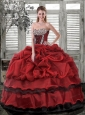 Modest Sweetheart Wine Red Quinceanera Dresses with Pick Ups and Beading