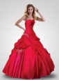 New Style Sweetheart Red Sweet 15 Dress with Pick-ups and Appliques