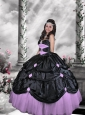 Remarkable Sweetheart Beading Black and White Quince Dresses