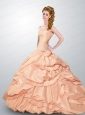 Romantic Ball Gown Strapless Quinceanera Dresses in Peach