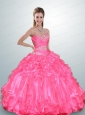 Unique Hot Pink Dress For Quinceanera with Beading and Ruffles