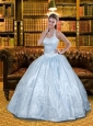 Wonderful Halter Top Baby Blue Quinceanera Dress with Lace