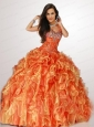 2015 Autumn One Shoulder Orange Quinceanera Dresses with Beading and Ruffles