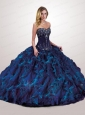2015 Classical Navy Blue Quinceanera Dress with Beading and Ruffles
