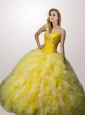 2015 Classical Ruffles and Beading Dress For Quinceaneras in Yellow