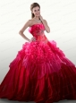 2015 Elegant Appliques and Ruffles Hot Pink Quinceanera Dresses