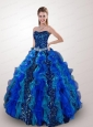 2015 Exclusive Strapless Royal Blue Quince Dresses with Beading