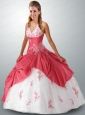 2015 Halter Top Appliques Quinceanera Dress in White and Pink